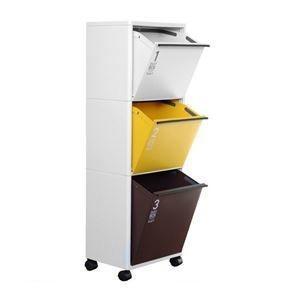 ds-2161482 ゴミ箱/ダストボックス 3段 【ワイド オータムカラー 43L】 洗える キャスター付き 『アスベル 資源ゴミ 分別ワゴン』 (ds2161482)|tantanplus