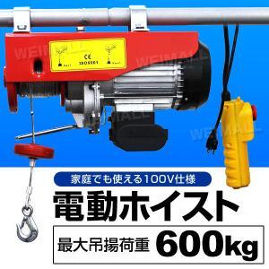 電動ホイストクレーン 電動ウインチ 吊り上げ 最大600kg リモコン付き ダブルフック シングルフック|tantobazarshop