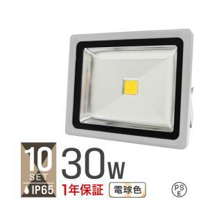 LED投光器 30W 電球色 暖色 3000K 省エネ LEDライト 防水 10個セット|tantobazarshop