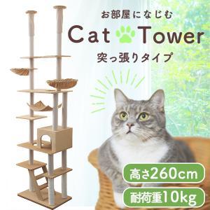 ツインキャットタワー 猫タワー 天井突張り式 240から260cm ベージュ|tantobazarshop