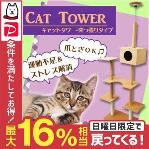 キャットタワー 突っ張り型 爪とぎ 猫 タワー ねこタワー 猫タワー ベージュ|tantobazarshop