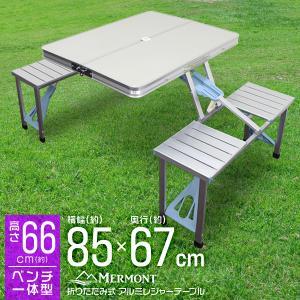 レジャーテーブル チェア 一体型 アルミテーブル ピクニックル キャンプ アウトドア用 折りたたみテ...