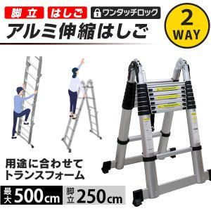 伸縮式 はしご 脚立 ハシゴ アルミ 伸縮はしご 伸びる 梯子スーパーラダー 5m tantobazarshop