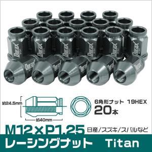 ホイールナット 貫通 M12 P1.25 ショート 20個セット チタン|tantobazarshop