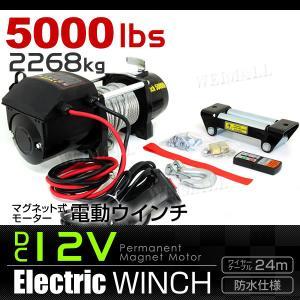 電動ウインチ DC12V 5000LBS 2268kg 有線コントローラー 無線リモコン付|tantobazarshop