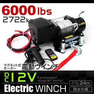 電動ウインチ DC12V 6000LBS 2722kg 有線コントローラー 無線リモコン付|tantobazarshop