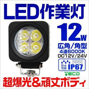 LEDワークライト 12W 投光器 作業灯 集魚灯 重機 トラック 漁船 デッキライト 看板灯  12V 24V対応  防水IP67|tantobazarshop