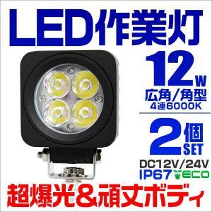 LEDワークライト 12W 投光器 作業灯 集魚灯 重機 トラック 漁船 デッキライト 看板灯  12V 24V対応  防水IP67 2個セット|tantobazarshop