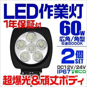 LEDワークライト 60W 投光器 作業灯 集魚灯 重機 トラック 漁船 デッキライト 看板灯  12V 24V対応  防水IP67 2個セット 1年保証 tantobazarshop