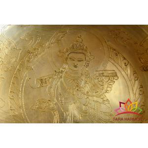 シンギングボウル 25cm 文殊菩薩( 美音)[HB160086-25G] シンギングボール セラピー|tara-harmony