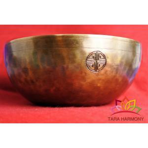 シンギングボウル23cm 超美音【フルムーン風アンバー】 [SB180472-23D] シンギングボール セラピー  ヨガ 瞑想 tara-harmony