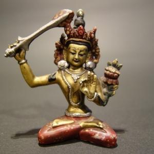 【仏像】文殊菩薩(妙吉祥菩薩) 真鍮製・彩色 小さな仏像 7.5cm【送料無料】|taradou