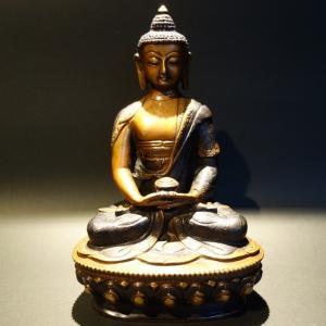 【仏像】阿弥陀如来(アミターバ・アミターユス) 特別彫金仕上げ 20cm 【送料無料】|taradou