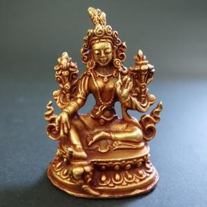 【仏像】緑多羅菩薩 (グリーンターラ) 銅製 小さな仏像 6cm|taradou