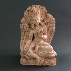 【仏像】緑多羅菩薩(グリーンターラ) 木彫り 仏像18cm【送料無料】|taradou