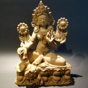 【仏像】緑多羅菩薩(グリーンターラ) 木彫り 仏像20cm【送料無料】|taradou