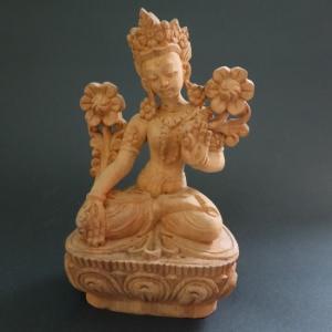 【仏像】白多羅菩薩(ホワイトターラ) 木彫り 仏像16cm【送料無料】|taradou