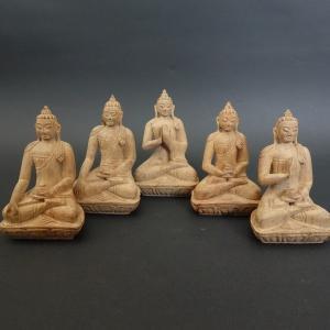 【仏像】五仏セット 木彫り 仏像 9cm【送料無料】|taradou