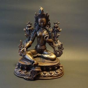 【仏像】緑多羅菩薩 (グリーンターラ) 銅製 22cm【送料無料】|taradou