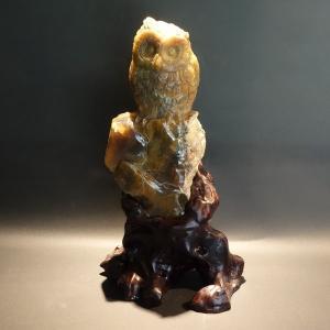 【天然石・アクセサリー】ふくろう 珪化木 22cm|taradou