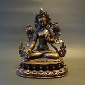 【仏像】白多羅菩薩(ホワイトターラ) 銅製 22cm【送料無料】|taradou