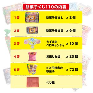 駄菓子くじ引きセット 景品110個 当てくじ|tarohana|02