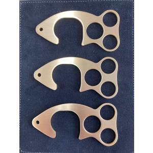 プレゼント タッチウオ3点セット ドアオープナー アシストフック 銅 真鍮 コロナ対策 魚 タッチレス つり革|tasiro
