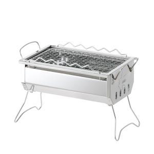 LOGOS/ロゴス ROSY 卓上ステングリル ステンレスボディの卓上BBQグリル 串焼き専用ラック付属で魚や焼き鳥調理にも便利|tasukurashi