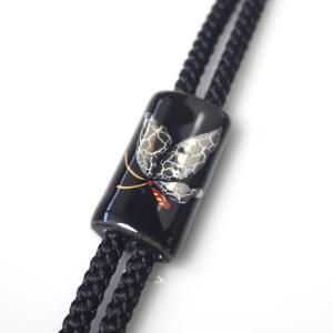 伊万里焼有田焼で知られる陶芸磁器ループタイ。黒釉白金彩貫入蝶。|tatikawa
