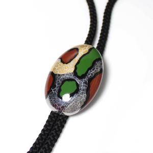伊万里焼有田焼で知られる陶芸磁器ループタイ。黒釉金彩貫入 正絹紐|tatikawa
