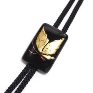 伊万里焼有田焼で知られる陶芸磁器ループタイ。黒釉金彩貫入蝶。 tatikawa