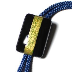 伊万里焼有田焼で知られる陶芸磁器ループタイ。黒釉金彩貫入。 tatikawa