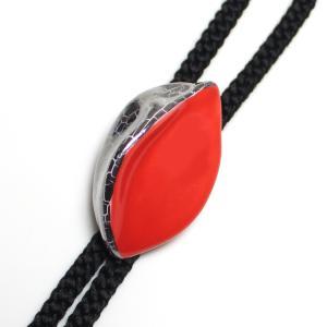 伊万里焼有田焼で知られる陶芸磁器ループタイ。紅赤釉白金彩貫入。|tatikawa