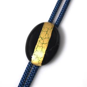 伊万里焼有田焼で知られる陶芸磁器ループタイ。黒釉金彩貫入。|tatikawa