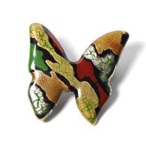 伊万里焼有田焼で知られる陶芸磁器ブローチ。黒釉金彩貫入蝶。|tatikawa