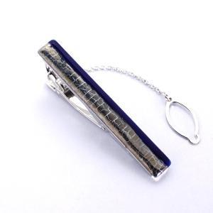 伊万里焼有田焼で知られる陶芸磁器タイピン。瑠璃釉白金彩貫入。|tatikawa