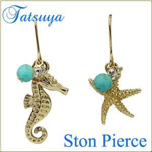 タツノオトシゴとヒトデのマリンピアス col.Gold|tatsuya-fish