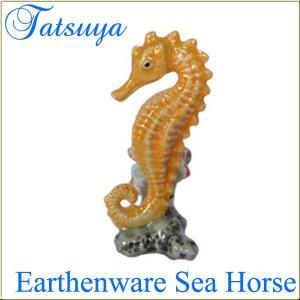 タツノオトシゴ オブジェ 陶器製 col.yerrow|tatsuya-fish