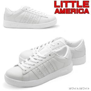 LITTLE AMERIA リトルアメリカ ホワイトコートシューズ スクールシューズ 通学用 学校靴 白スニーカー|tatsuya-shoes
