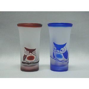 新潟特産品 ガラスエッチング 名入れフクロウ彫刻ペアグラス 還暦祝や結婚祝などの贈り物に最適|tattan-sougouseikatu