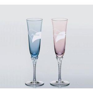 新潟特産品 ガラスエッチング デザイン名入れ彫刻ペアシャンパングラス ご結婚の贈り物や引出物に最適|tattan-sougouseikatu