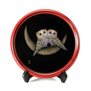 輪島塗 飾皿 梟(フクロウ) おしゃれ モダン インテリア ギフト 贈り物 プレゼント 還暦祝い 定年祝い お祝い|tayasikkitenn