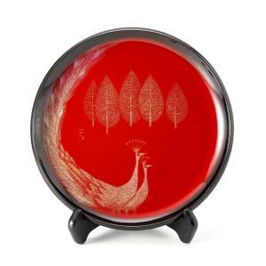 輪島塗 飾皿 孔雀(クジャク) 大皿 丸皿 モダン おしゃれ インテリア ギフト 贈り物 プレゼント 定年祝い 還暦祝い お祝い|tayasikkitenn
