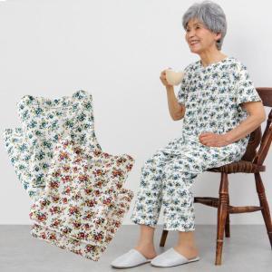シニア服 80代 70代 60代 レディース 婦人服 高齢者 おばあちゃん 花柄 半袖 夏のカットソーパジャマ 2色組