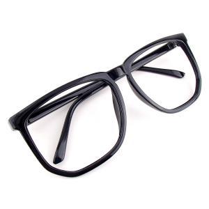 【アウトレット品】ビッグウェリントン 伊達メガネ (レンズなし) ブラック 黒縁眼鏡 メンズ レディース 男女兼用|tc08ride