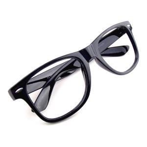 【アウトレット品】ウェリントン 伊達メガネ (レンズなし) ブラック 黒縁眼鏡 メンズ レディース 男女兼用|tc08ride