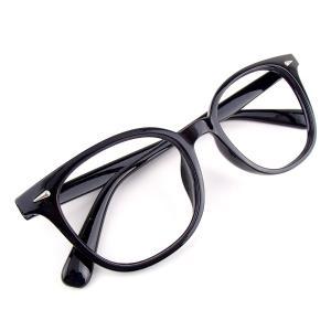 【アウトレット品】ウェリントン 伊達メガネ type-A (レンズなし) ブラック 黒縁眼鏡 メンズ レディース 男女兼用|tc08ride