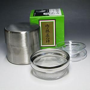 (茶道具) ステンレス製 お椀型抹茶篩 茶こし缶 茶篩缶 茶漏斗付き
