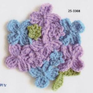 カフェキッチンで編むアジサイのドイリーのコースター 手編みキット エコタワシ ダルマ 横田毛糸 無料編み図 編みものキット|teamiohenya