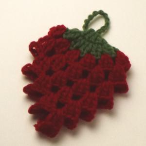 カフェキッチンで編む苺のエコタワシ ダルマ毛糸 手編みキット いちご 人気キット 編み図|teamiohenya